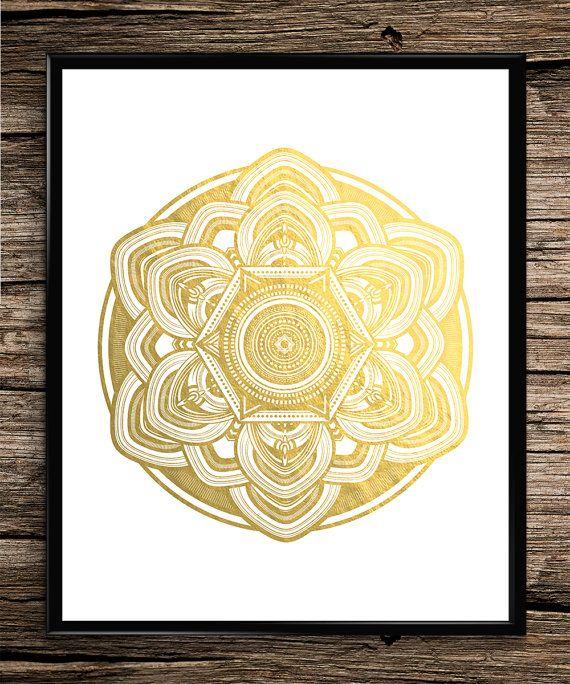 Gold Mandala | Modern Prints | Gold Prints | Office Decor | Home ...