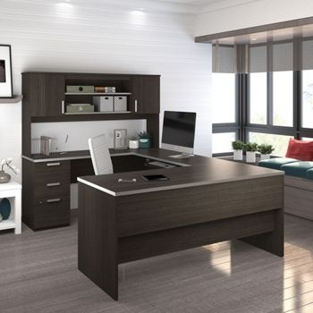 U Desk With Hutch Modern Officefurniture National Business