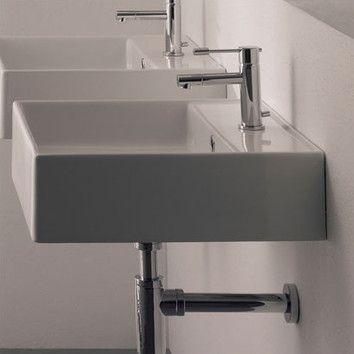 "Scarabeo by Nameeks Teorema Wall Mounted Bathroom Sink 16.5"" square 336"