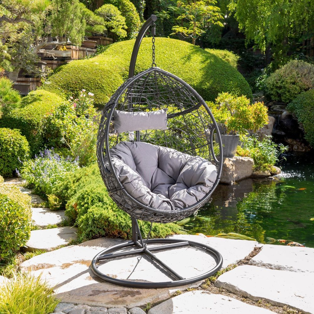 Kyle outdoor wicker hanging basket chair with water