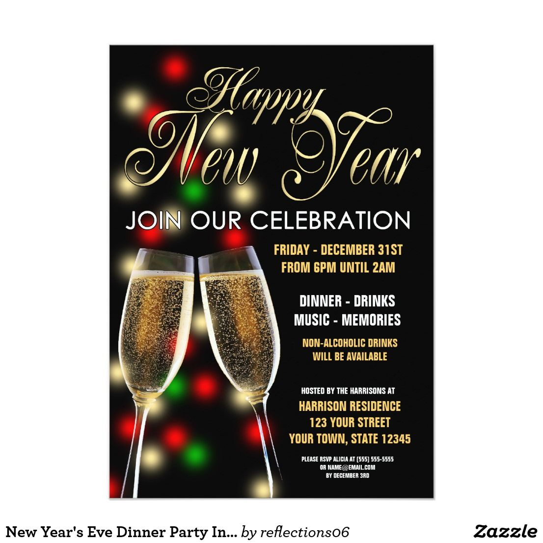 New Year\'s Eve Dinner Party Invitation | New Year | Pinterest ...