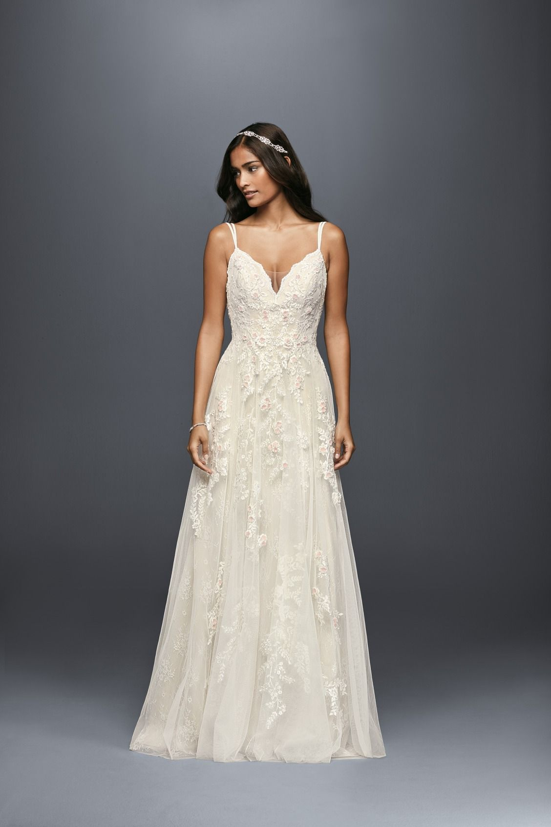 Scalloped A Line Wedding Dress With Double Straps David S Bridal Sweet Wedding Dresses A Line Wedding Dress Aline Wedding Dress [ 1692 x 1128 Pixel ]