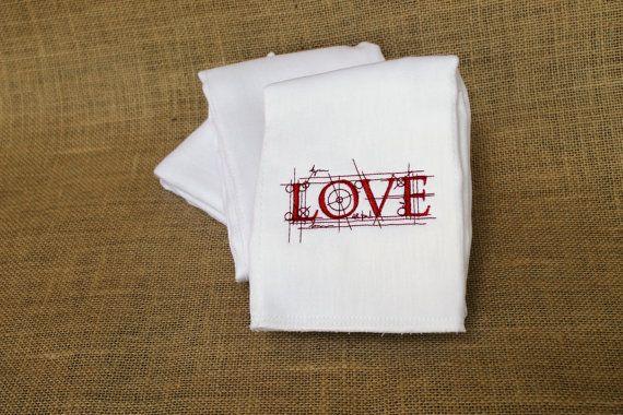 Embroidered Burp Cloth - Blueprint L O V E