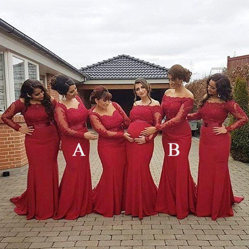 Red lace mermaid long sleeves mismatched long wedding bridesmaid