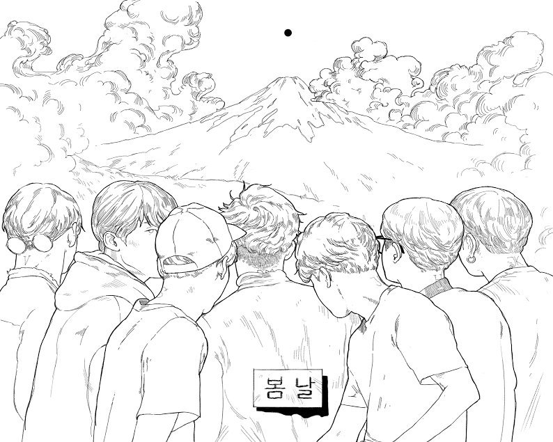 Bts Colouring Book Page By Peacheschild Jungkook Fanart Fan Art Bts Drawings