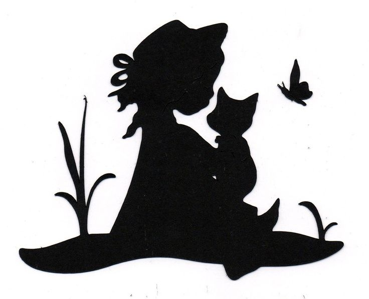 Baby Girl Silhouette with Butterfly | NEW design lil girl with kitten butterfly Silhouette ... | Silhouettes