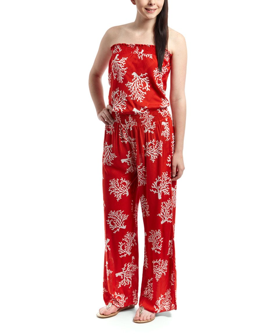 Indian Tropical Fashions Red   White Coral Jumpsuit - Women by Indian  Tropical Fashions  zulilyfinds 2e44ab42a