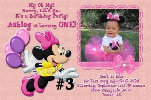 Custom Birthday Invitations Templates Ideas 20 Printed Minnie Mouse Personalized Photo Create