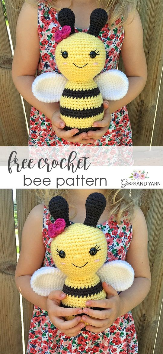 Free Crochet Bee Pattern #crochetamigurumifreepatterns