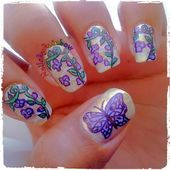 Photo of Butterfly/floral purple nails by nailsbyrainbow  Nail Art Gallery nailartgaller