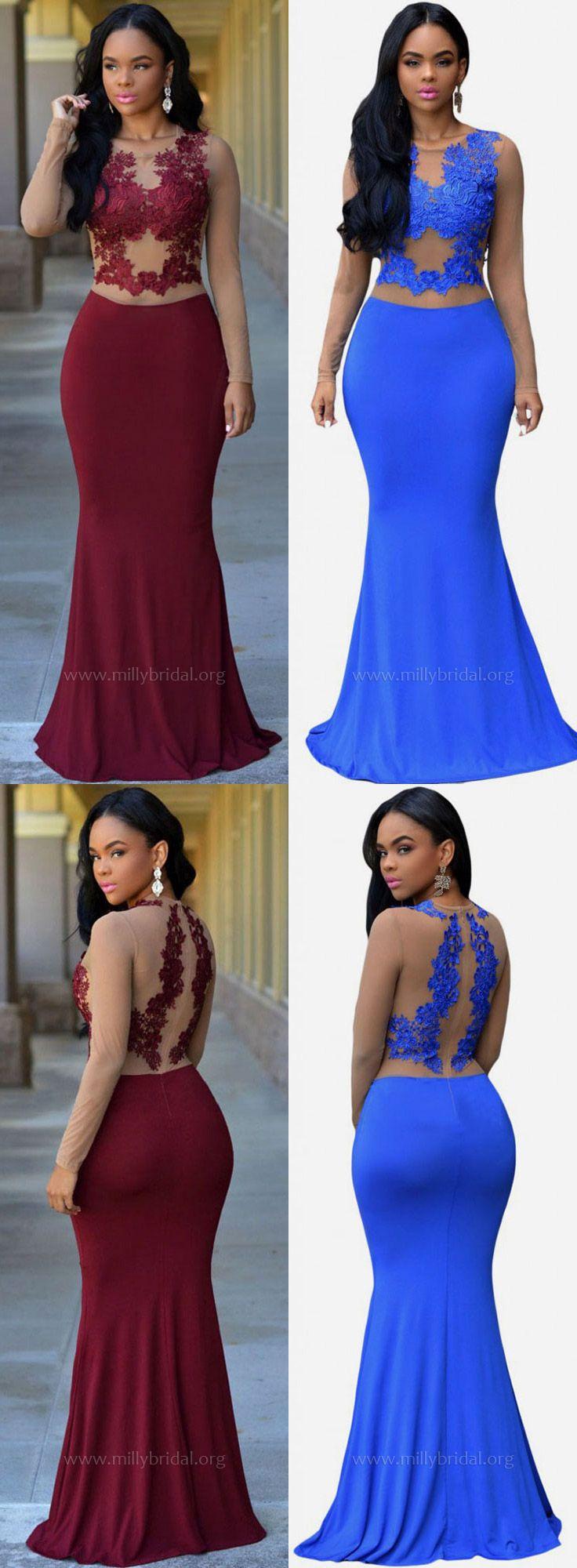 Prom dresses long formal dresses mermaidlong sleeves evening