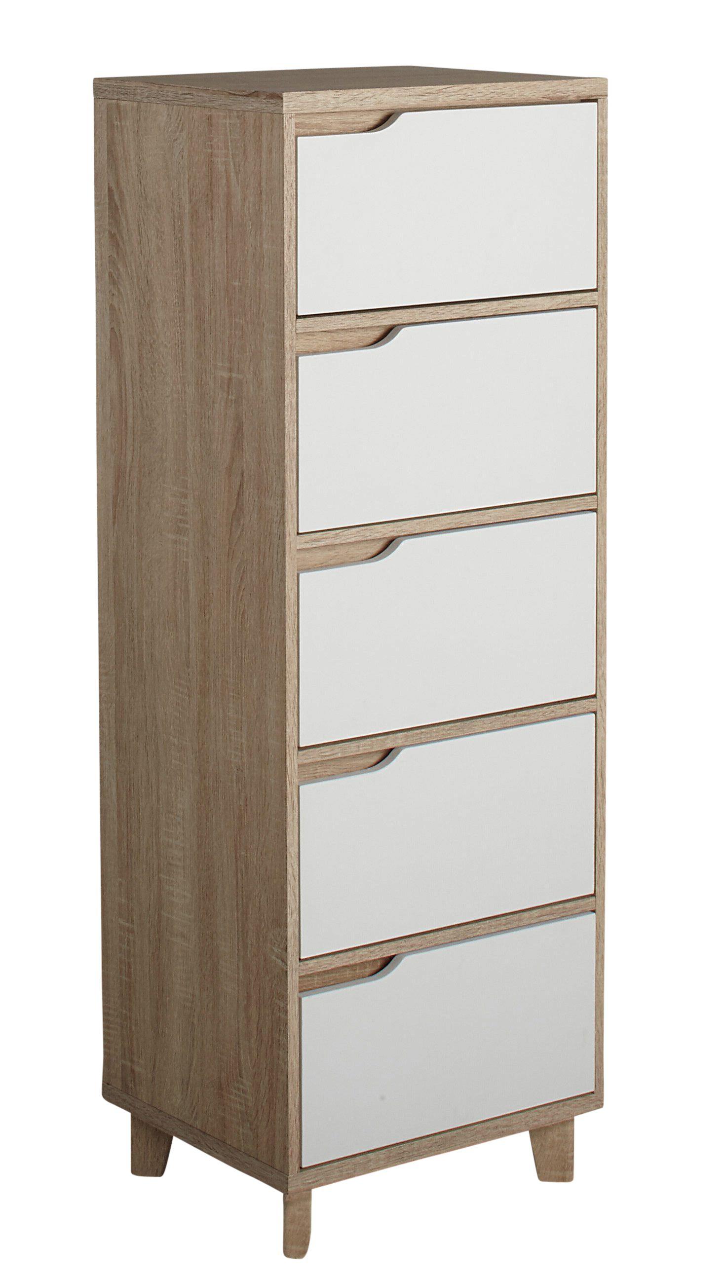 Chiffonnier 5 tiroirs Nordic imitation chêne et blanc en 2019 | Nid ...