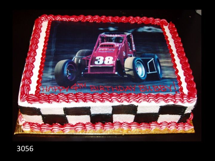 Race Car Birthday Cake With Edible Picture And Checker Flag