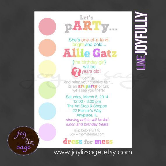 Art pARTy - Personalized Digital File Only - Print option available on Etsy, $15.00