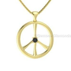 black diamond peace sign necklace