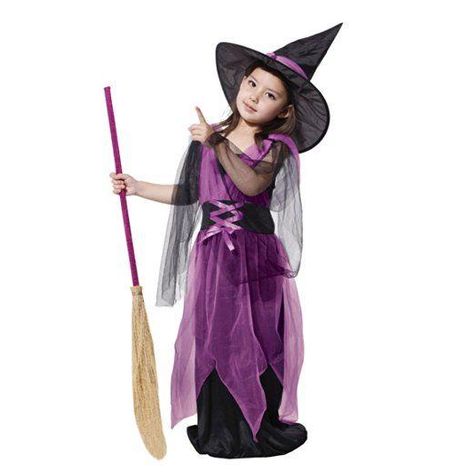 Free Fisher Kinder Mädchen Kostüm für Halloween, Lila Hexe, Gr. XL ...