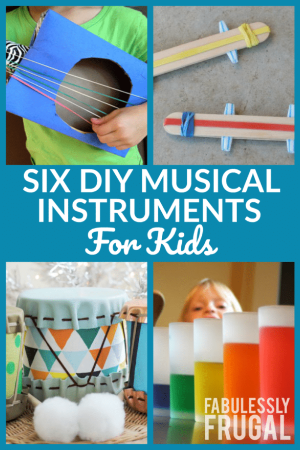 6 DIY Musical Instruments for Kids - Fabulessly Frugal #musicalinstruments