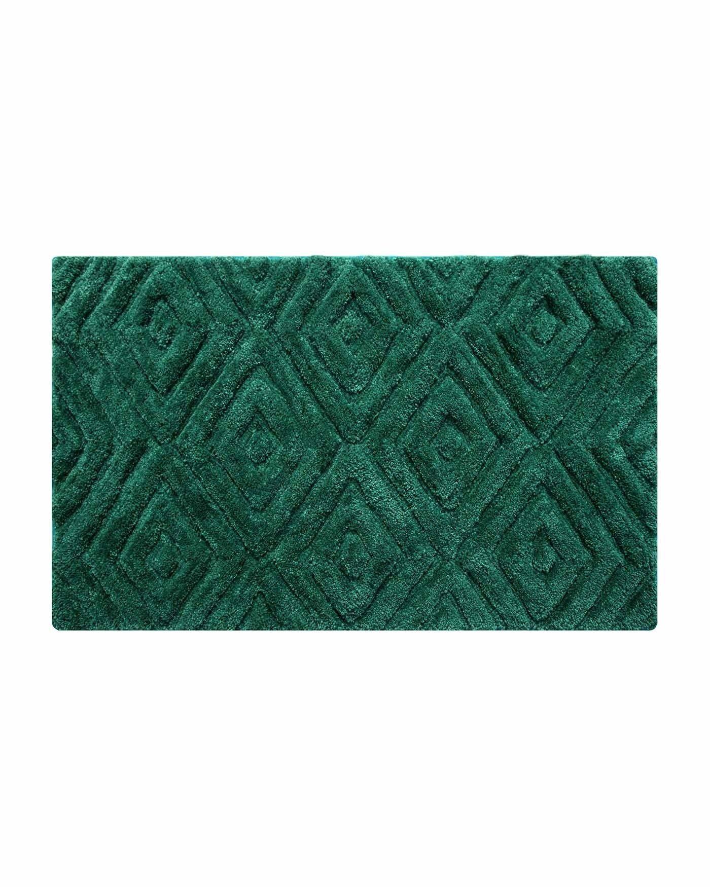 Emerald Green Super Absorbent Thick Pile Ikat Non Slip Bath Mat