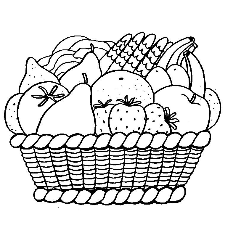 Coloriage panier de fruits a imprimer gratuit fruits et - Fruits coloriage ...