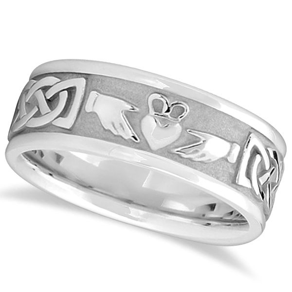 This Designer Engravable Irish Celtic Knot Claddagh Wedding Band