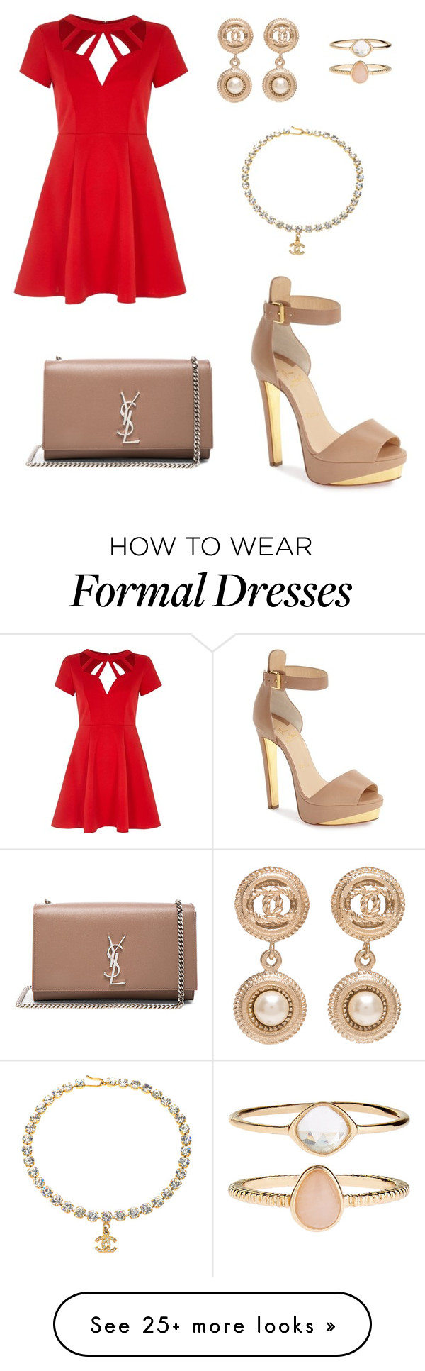 """""""The Caroline - Formal"""" by jordanstewart5747 on Polyvore featuring River Island, Christian Louboutin, Accessorize, Chanel and Yves Saint Laurent"""