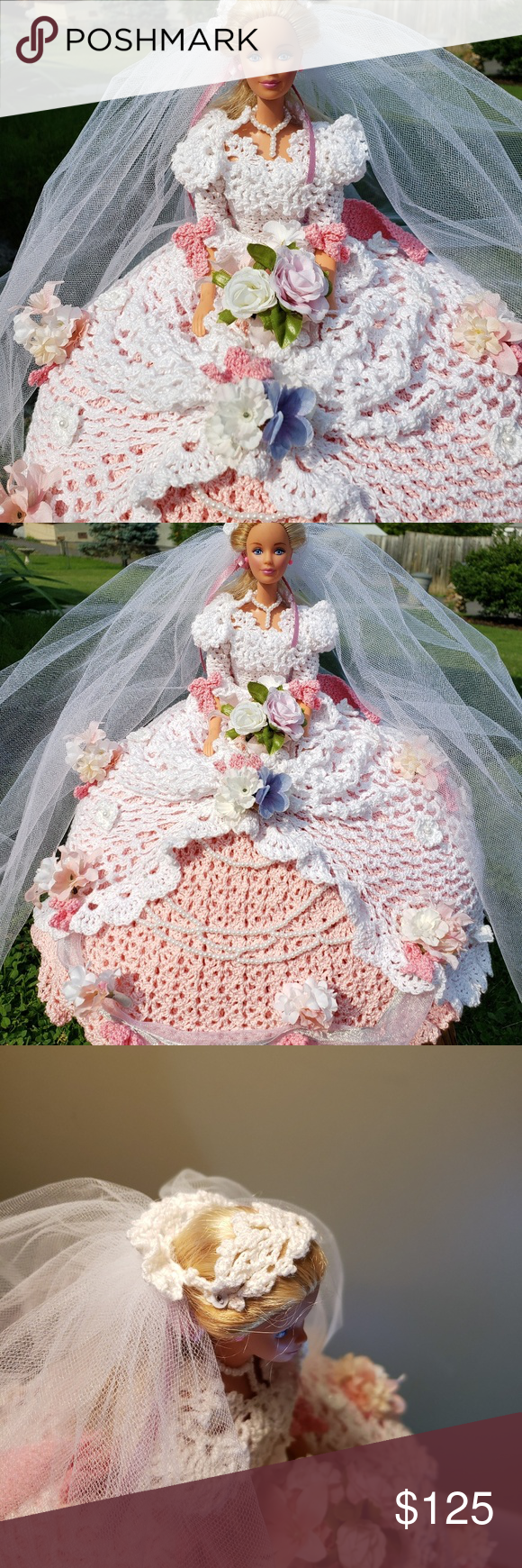 Fairy tale Bride doll, pink crochet Fairy Tale Bride Doll, crochet dress, Handmade, She is a bed doll, made to sit on your bed, Dhe is nicely decorated with flowers head piece and veil handmade Accents Accent Pillows #bridedolls