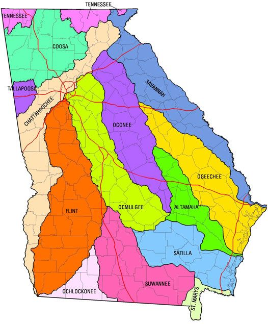 Rivers Near You Map And Information About Georgias River Basins - Georgia map valdosta