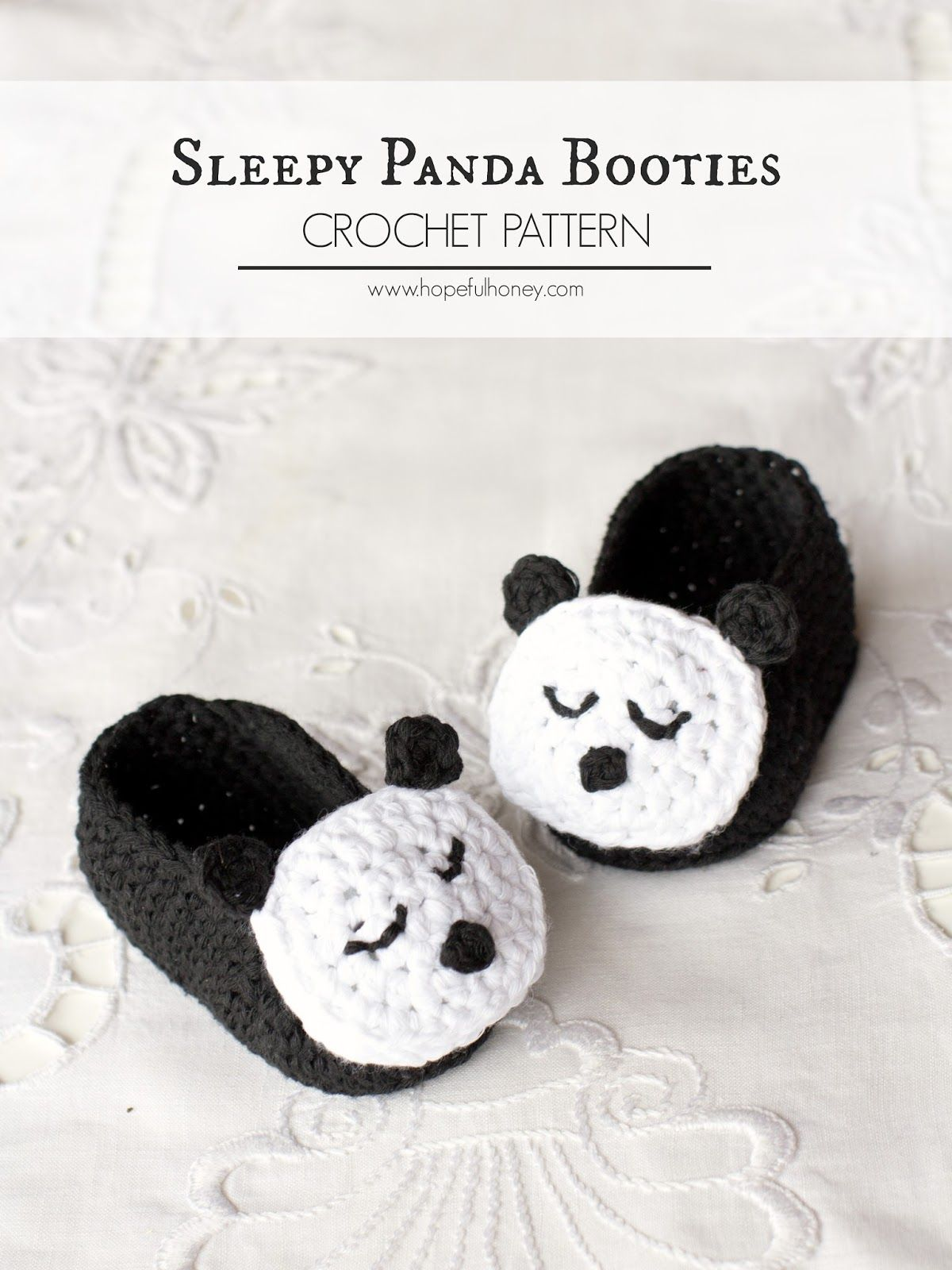 Sleepy Panda Baby Booties - Free Crochet Pattern | Bolsa crochet ...