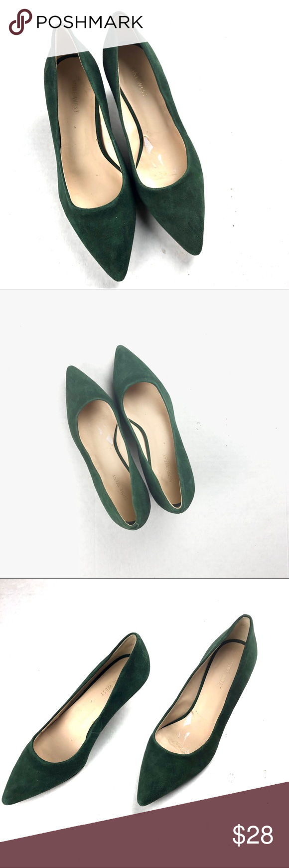Nine West Nwillumie Green Suede Shoes Kitten Heel Shoes Suede Shoes