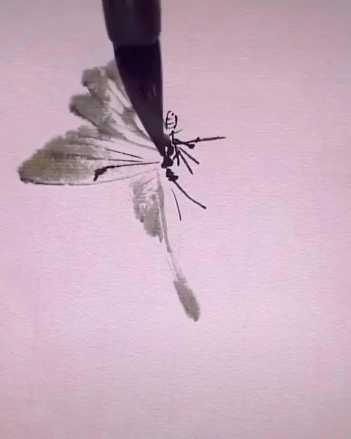 simplely drawing a ink brush butterfly, by MsLeechee