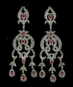 Vintage 5 50ct Rose Cut Diamond Ruby Chandeliers Earrings