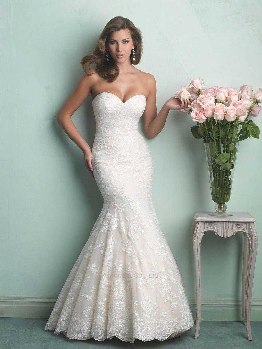 Sweetheart neckline lace mermaid wedding dress under with