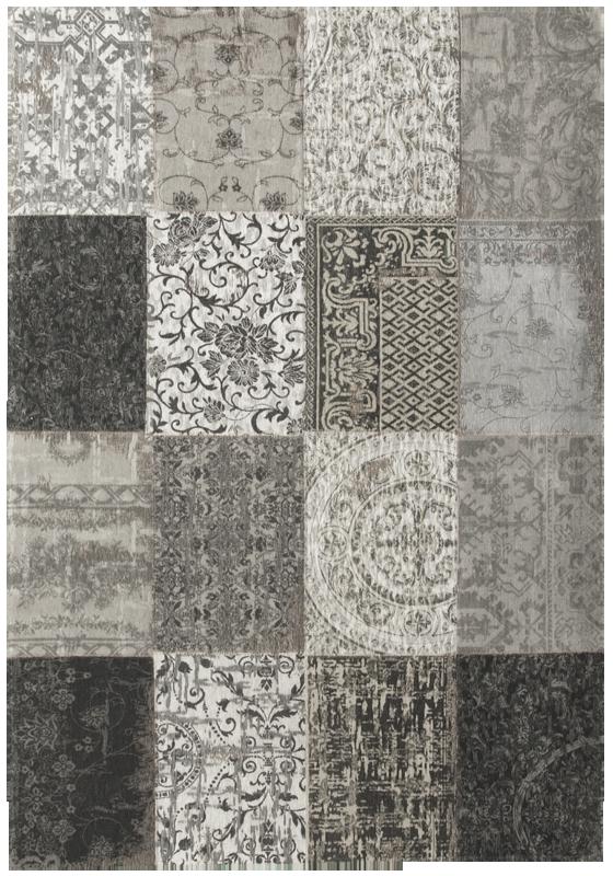 Black White Vintage Patchwork Rug Zeba Home Online