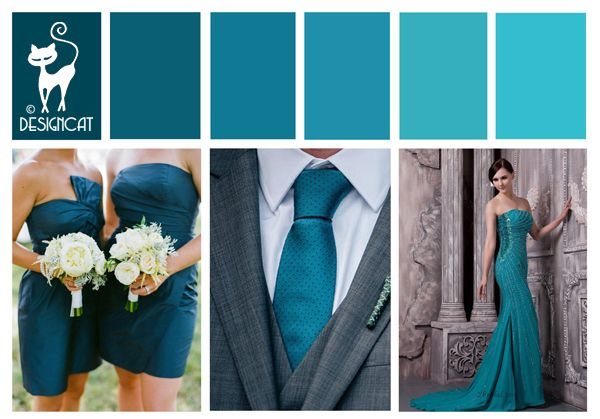 Teal Blue Wedding Inspiration Colour Board by Designcat