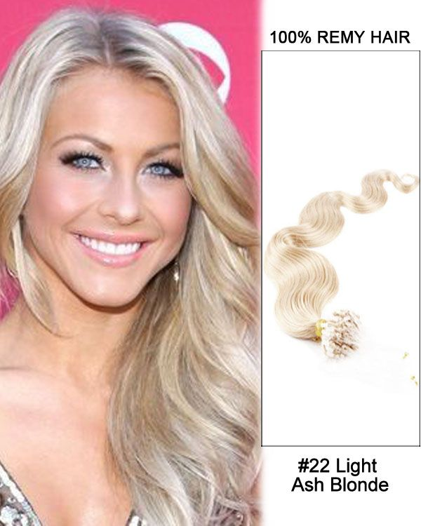 16 22 Light Ash Blonde Body Wave Micro Loop 100 Remy Hair Human