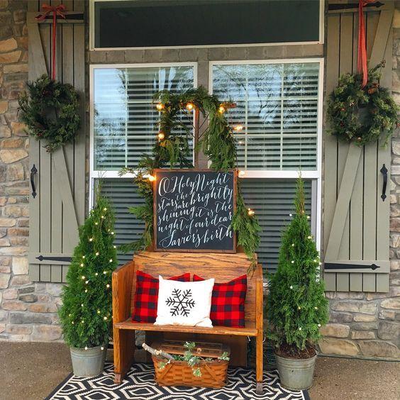 Ideas para decorar tu porche esta navidad 2017 Front porches