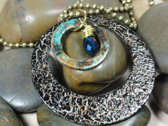 NECKLACE  Repurposed Metal Hoop Copper Patina di EVERCHICJEWELRY, $26.00
