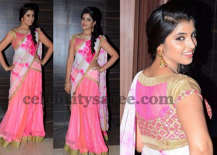 Shyamala Anchor Pink Half Saree