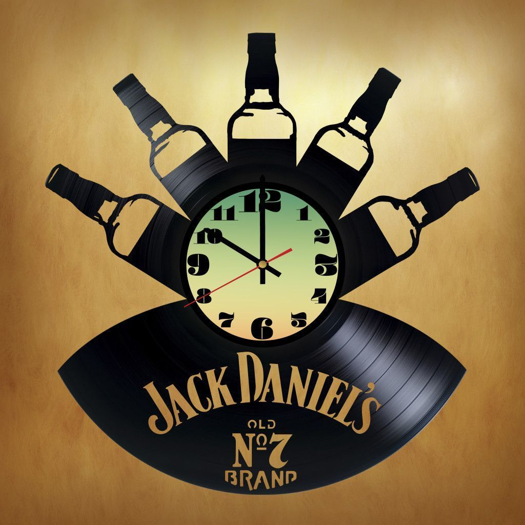 Jack Daniel\'s OLD №7 Handmade Vinyl Record Wall Clock | Metal Tree ...