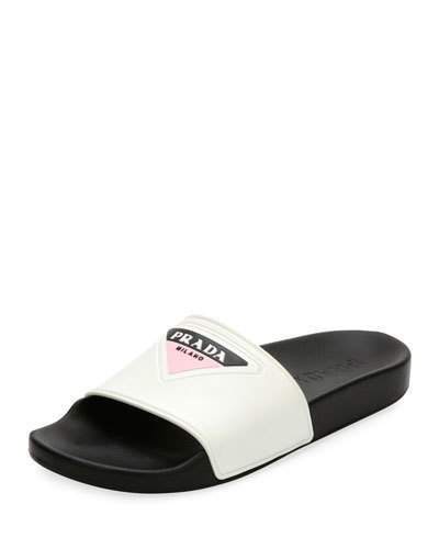 5c810a3d320 PRADA LOGO RUBBER POOL SLIDE SANDAL.  prada  shoes