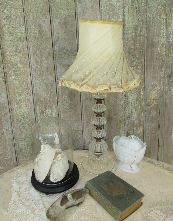 Vintage Velvet and Lace Lamp Shade Shabby by TheVintageOpenGate