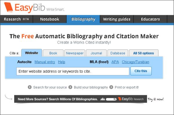 Easybib The Free Automatic Bibliography Composer Guided Writing Citation Machine Never Stop Learning