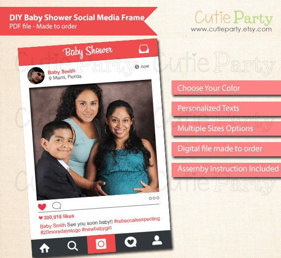 Social Media Photo Prop Frame Baby Shower Instagram By Cutieparty