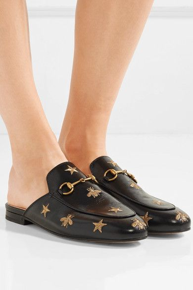 5e1463b9d26 Gucci - Princetown Horsebit-detailed Embroidered Leather Slippers - Black