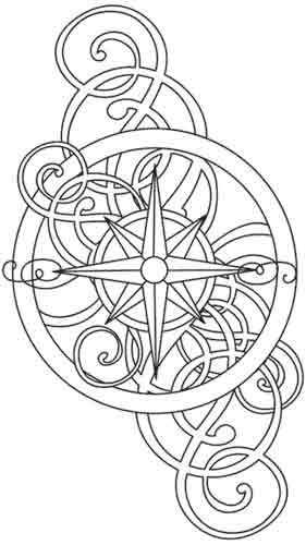 Free Printable Coloring Pages Compass Tattoo Design Coloring