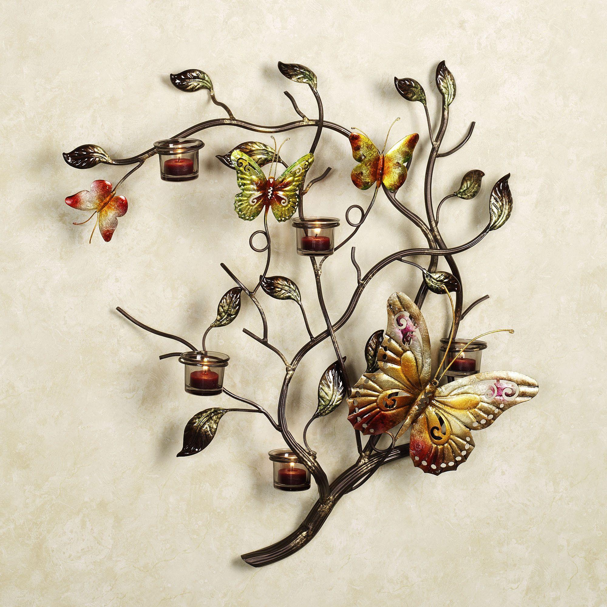 Flight of the butterfly candelabra metal wall art hallway