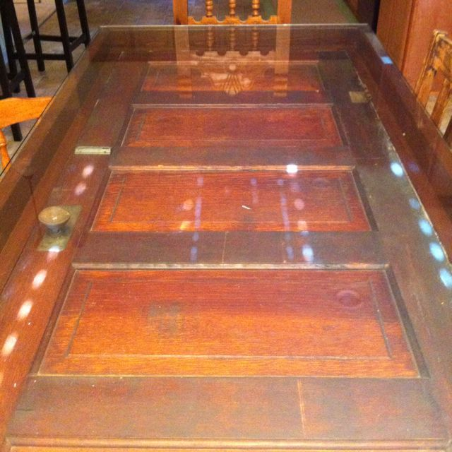 Antique Door Turned Shadow Boxed Dining Room Table. Glass