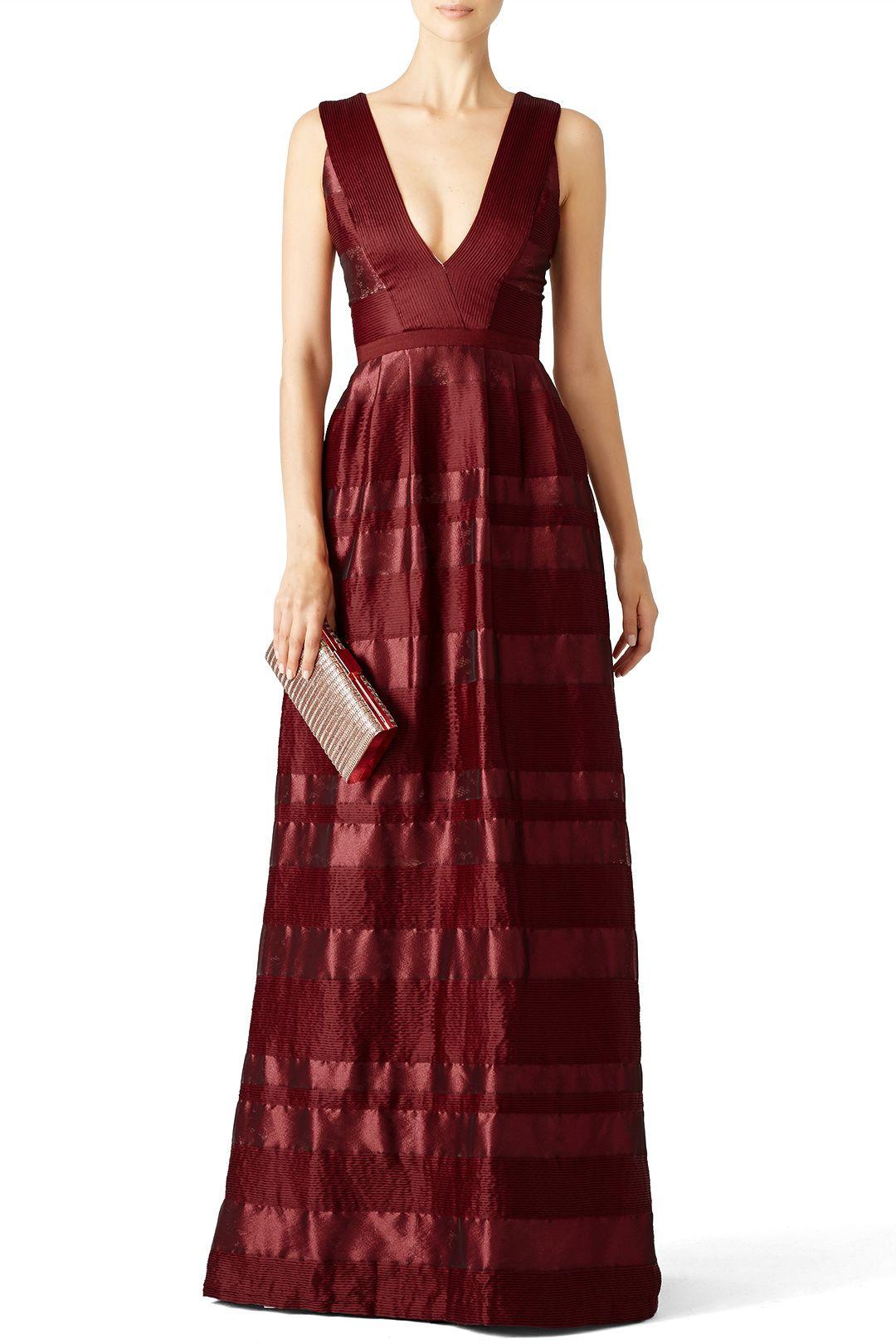 Rent Bordeaux Satin Stripe Gown by ML Monique Lhuillier for $100 ...