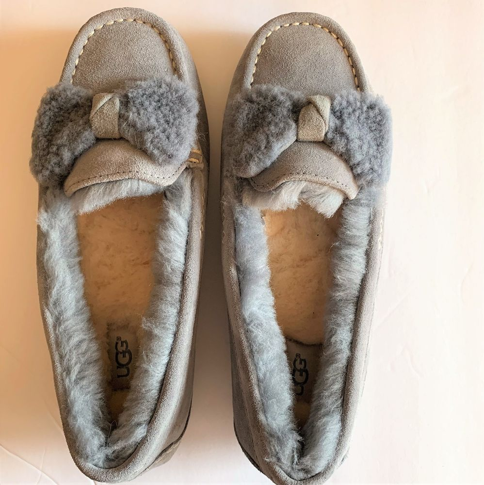 293a9c38233 UGG Ansley Bow Moccasin SLIPPERS ~ GEYSER Gray Women's Size 9 New ...
