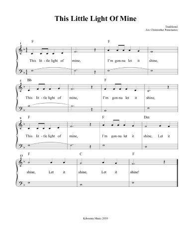 This Little Light Of Mine Sheet Music | Sunday School | Pinterest ...